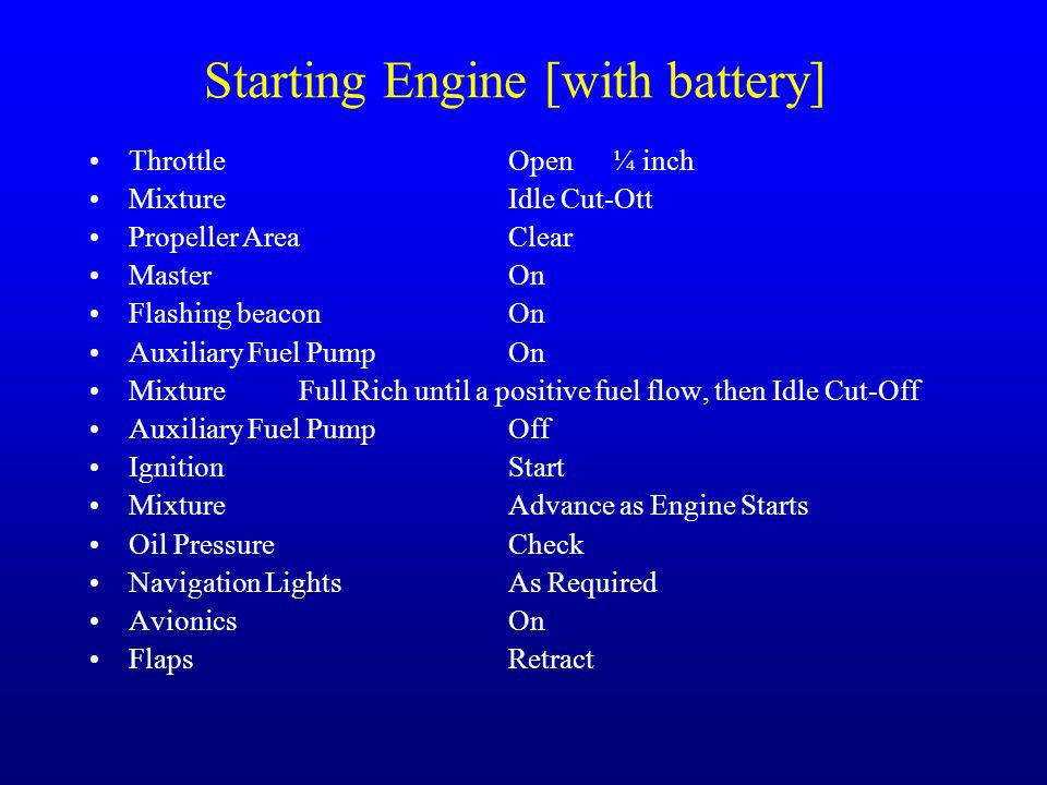 Starting Engine [with battery]